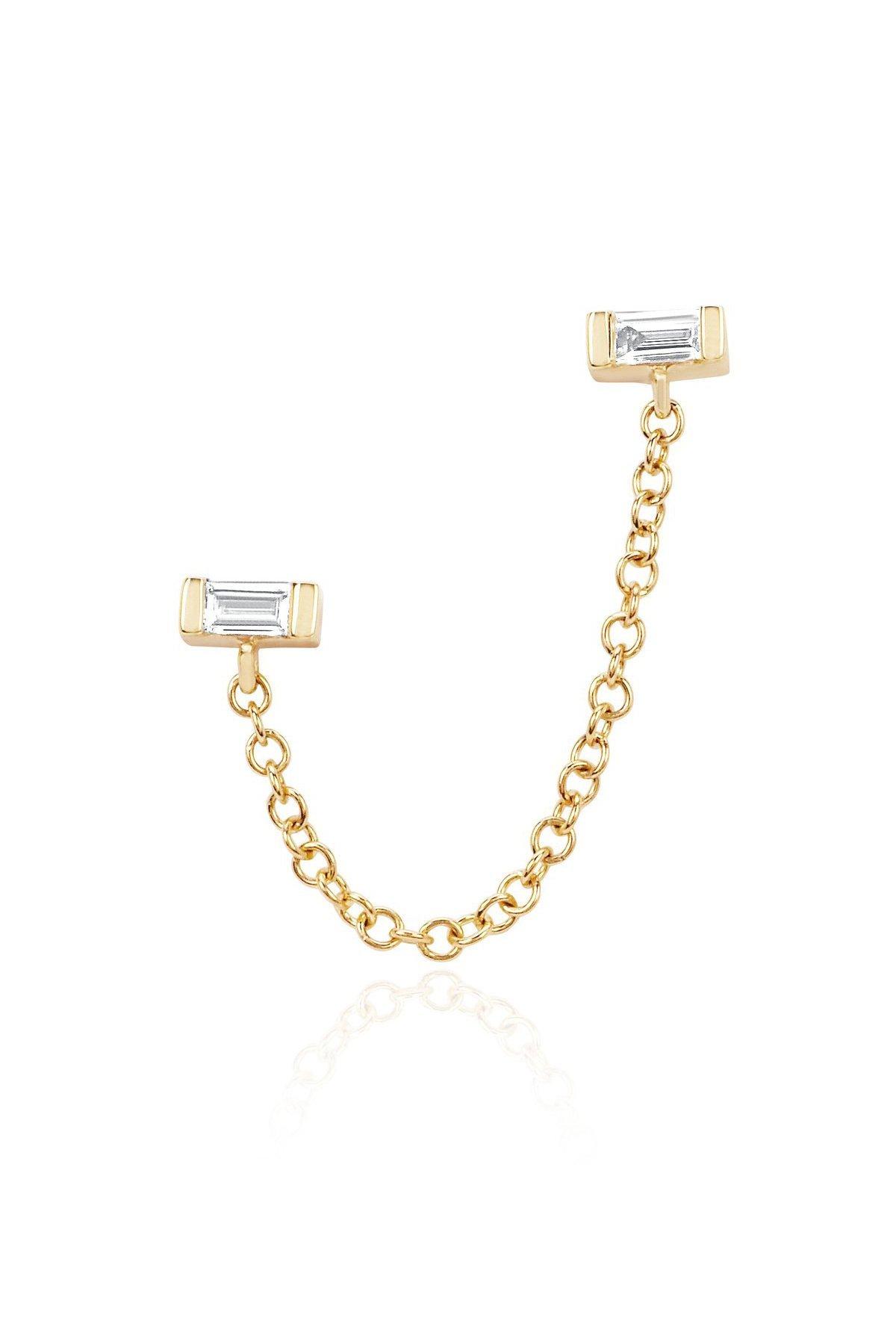 Baguette Chain Earring-Yellow Gold