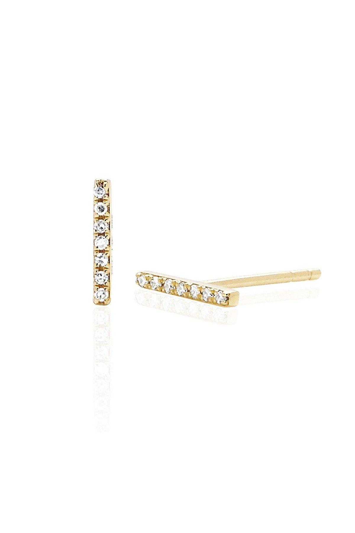 Diamond Bar Studs-Yellow Gold
