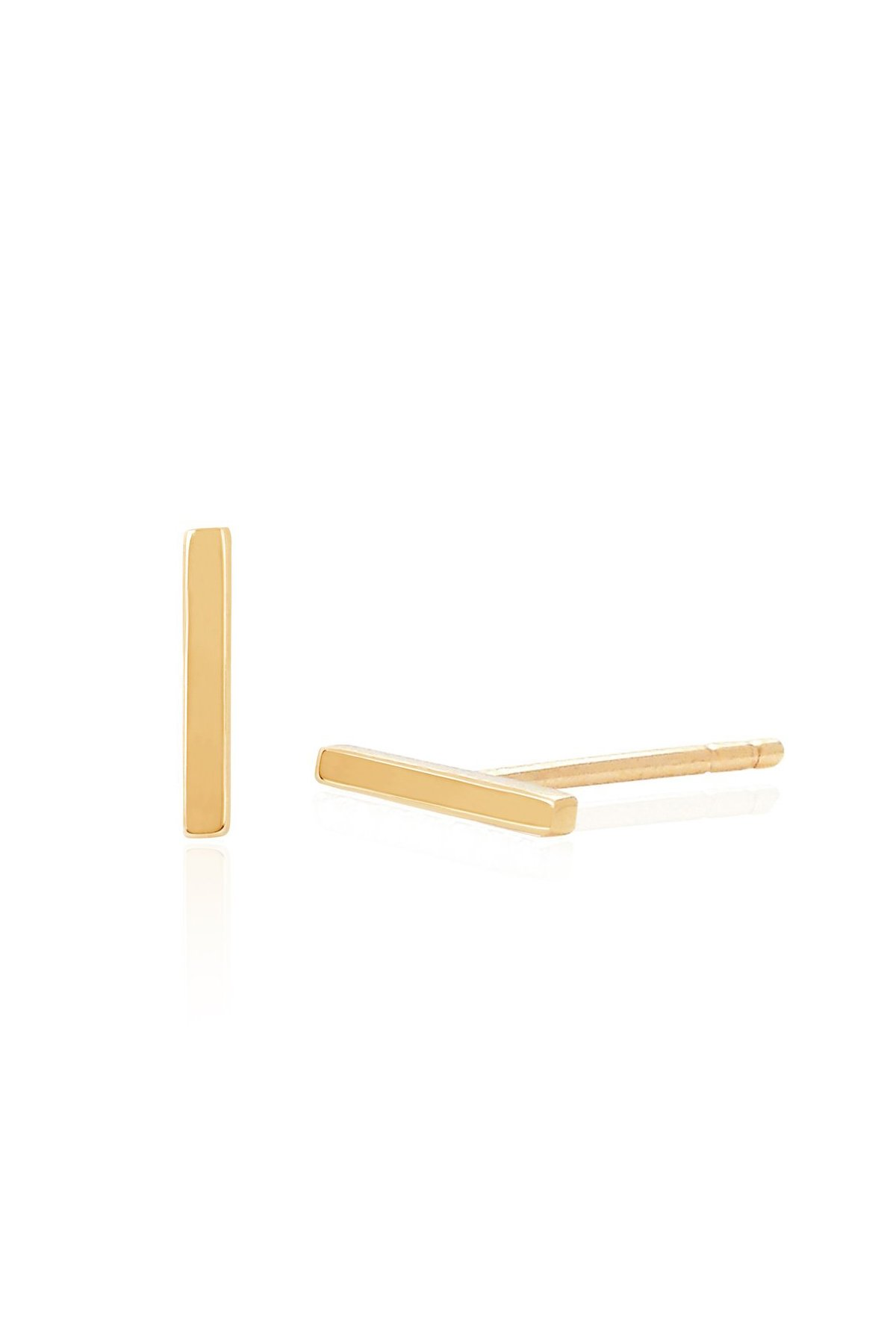 Mini Gold Bar Studs-Yellow Gold