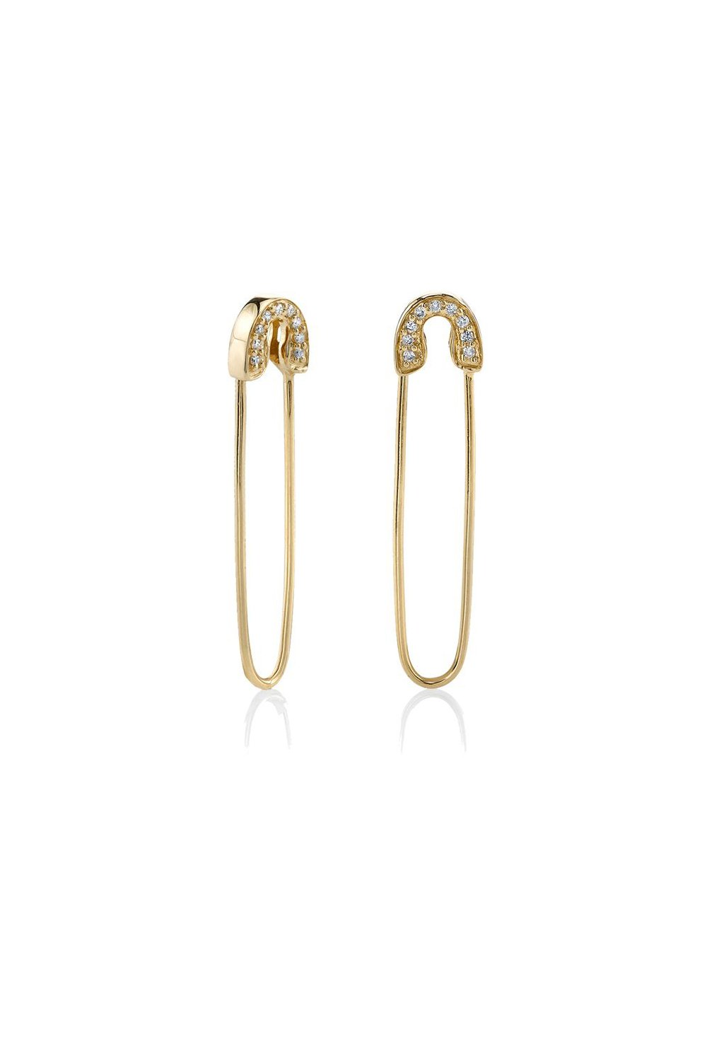 Safety Pin Earrings-Yellow Gold