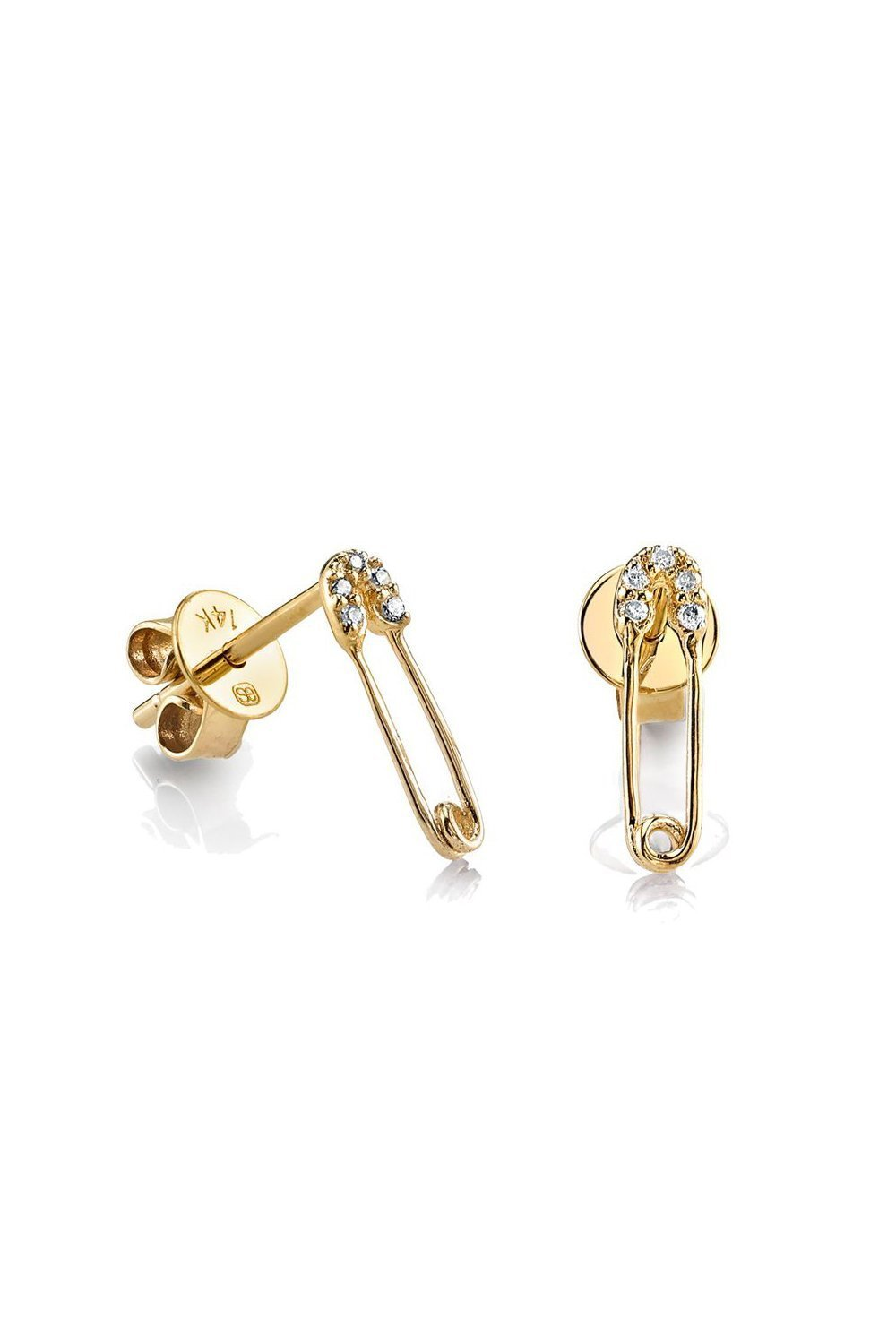 Safety Pin Studs-Yellow Gold