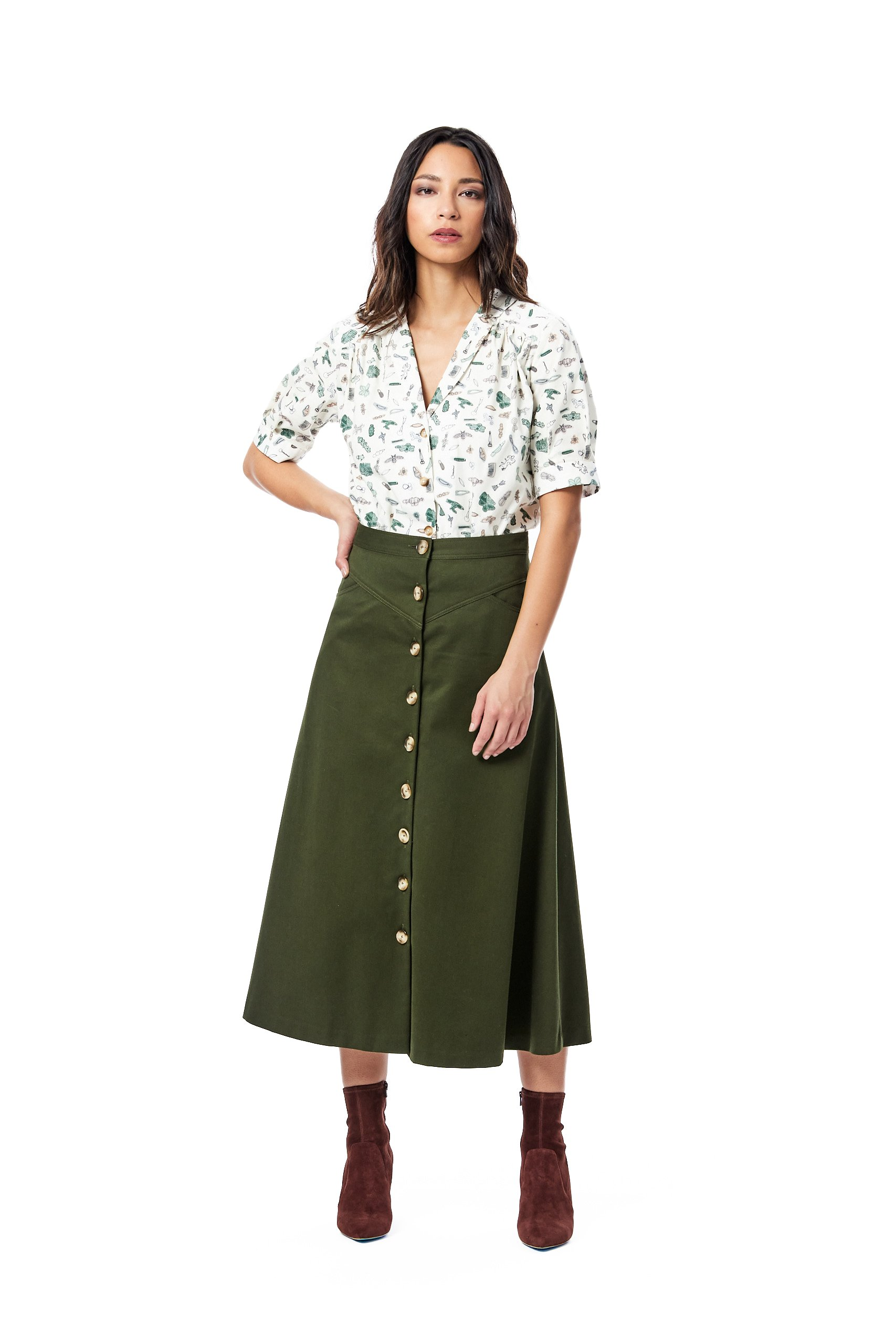 A-Line Twill Skirt-Army