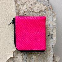 Half Zip Wallet-Neon Pink